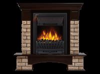 Электрокамин Forte Wood Classic камень коричневый, шпон темный дуб,Electrolux